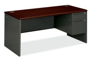 HON 38000 Series Right Pedestal Desk | 1 Box / 1 File Drawer | 66″W x 30″D x 29-1/2″H | Mahogany Laminate | Charcoal Finish