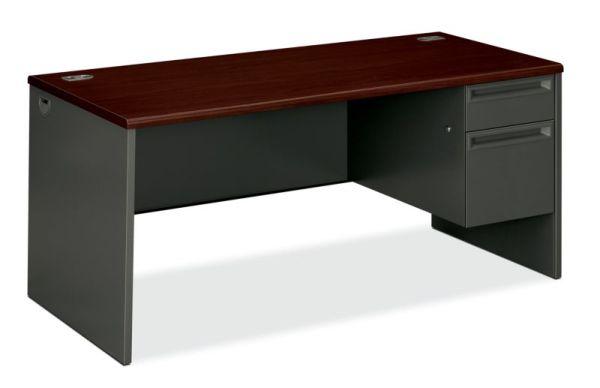 "HON 38000 Series Right Pedestal Desk   1 Box / 1 File Drawer   66""W x 30""D x 29-1/2""H   Mahogany Laminate   Charcoal Finish"