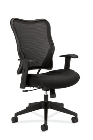 HON Wave Mesh High-Back Task Chair   Synchro-Tilt, Tension, Lock   Adjustable Arms   Black Mesh Back   Black Sandwich Mesh Seat