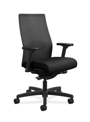 HON Ignition 2.0 4-way stretch Mesh Back Task Chair | Advanced Synchro-Tilt Control | Height- and Width-Adjustable Arms | Adjustable Lumbar Support | Black Seat Fabric | Black Frame