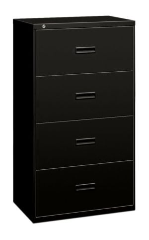 HON Lateral File | 4 Drawers | Molded Pull | 30″W x 18″D x 53-1/4″H | Black Finish