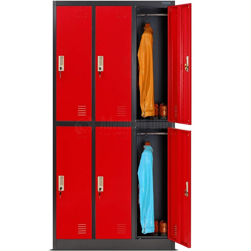 armoire vestiaire metallique 6 compartiments 0 38 x 0 45 x 1 85 m rouge armoire vestiaire metallique mobilier metallique mobilier de bureau tous all what office needs
