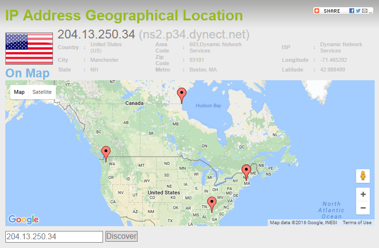 Tiwtter.com Geolocation based on IP