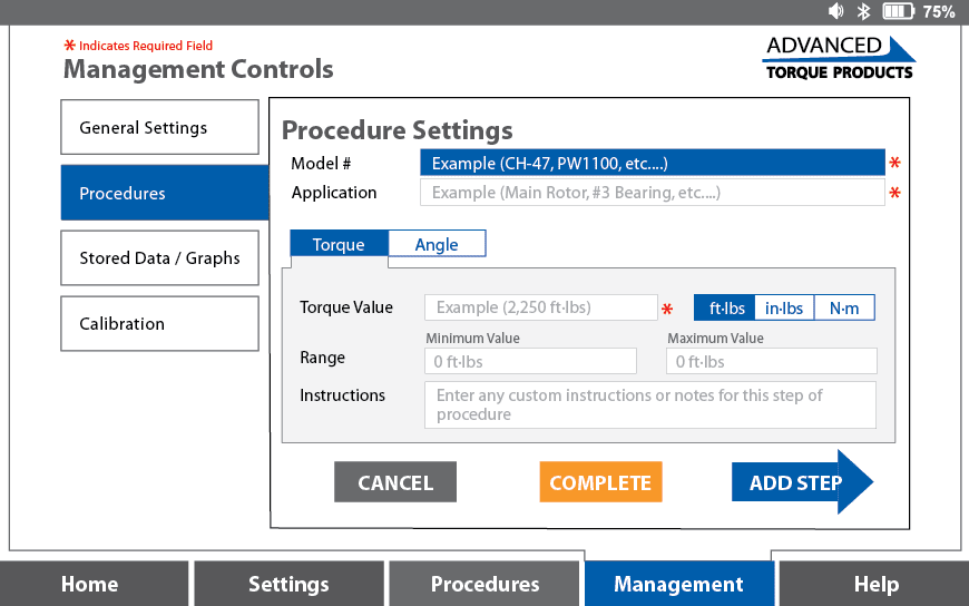 Procedure Settings
