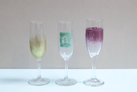 Party DIY Glam Champagne Glasses Ideas