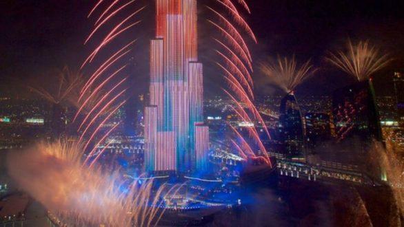 Dubai Burj Khalifa New Year Fireworks