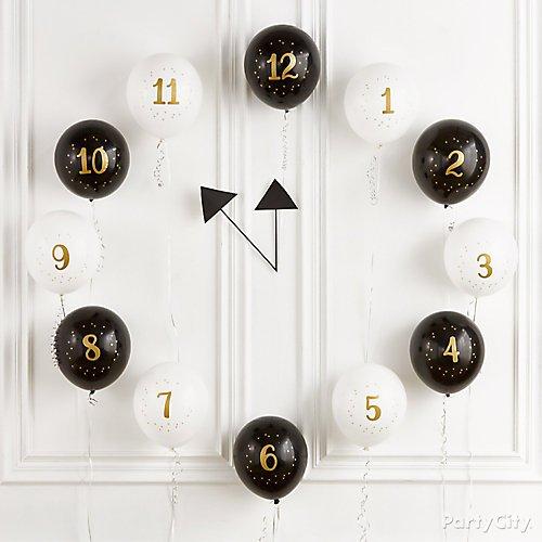 Happy New Year's Eve Countdown Balloons Clock
