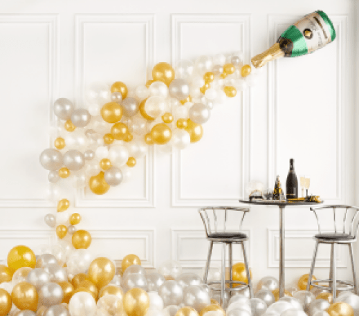 New Year Eve Champagne Balloons Wall