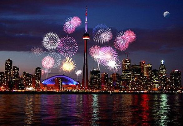 New Year's Eve Fireworks Toronto CN Tower