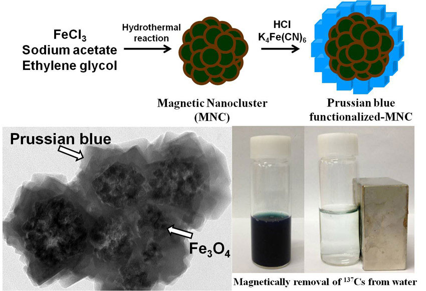 Prussian blue-functionalized magnetic nanoclusters for the removal of radioactive cesium from water.Advances in Engineering
