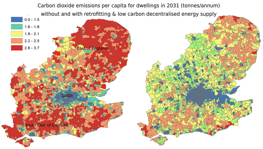 Forecasting how residential urban form affects the regional carbon savings and costs of retrofitting and decentralized energy supply (Advances in Engineering)