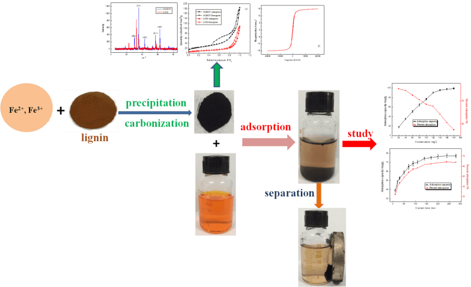 Magnetic lignin-based carbon nanoparticles and the adsorption for removal of methyl orange - Advances in Engineering
