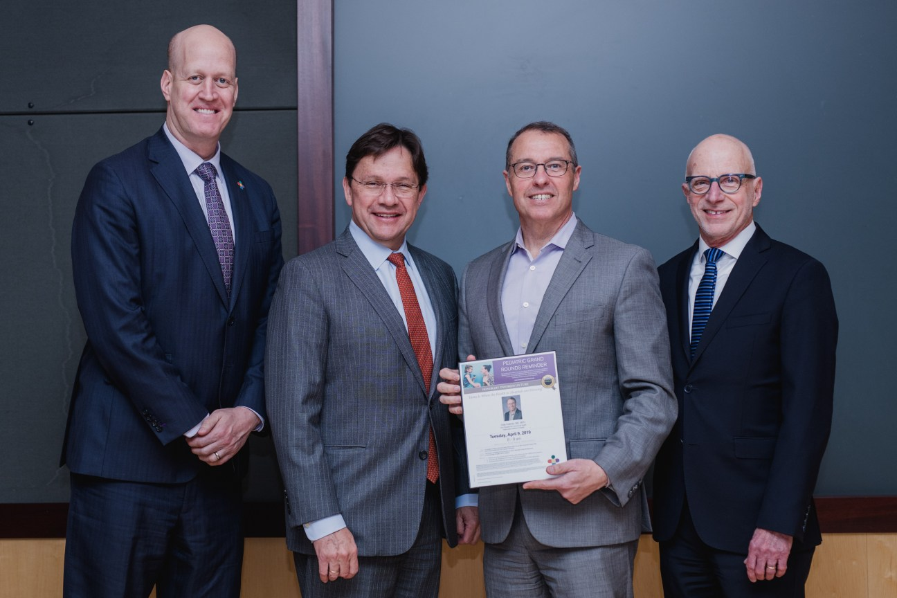 From L to R: Gil Peri, President and COO, Connecticut Children's; Juan Salazar, MD, MPH, Physician-in-Chief, Connecticut Children's; Kelly Kelleher, MD, MPH, Nationwide Children's Hospital, and Paul H. Dworkin, MD, Executive VP Community Child Health, Connecticut Children's