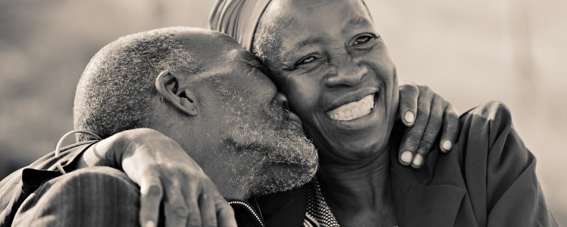 Smiling couple.