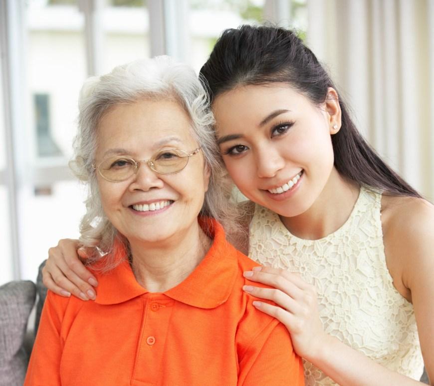 Grandmother with her caregiver granddaughter.