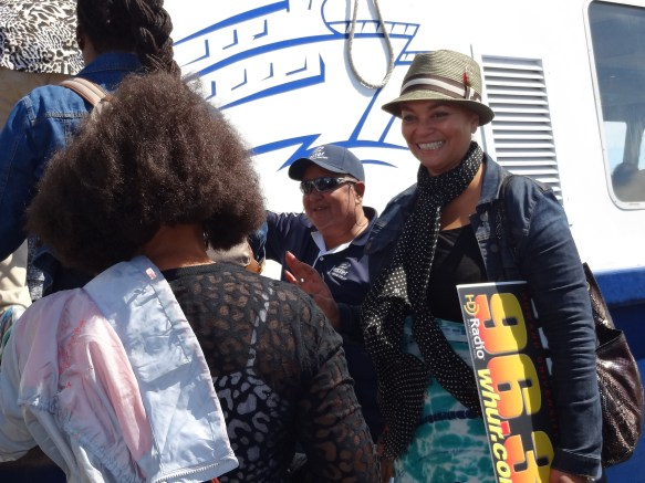 Ja'Vonne welcomes group onboard Robben Island ferry