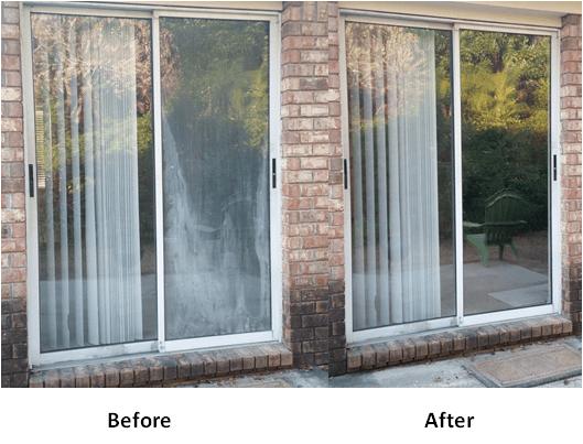 foggy sliding glass door repair in
