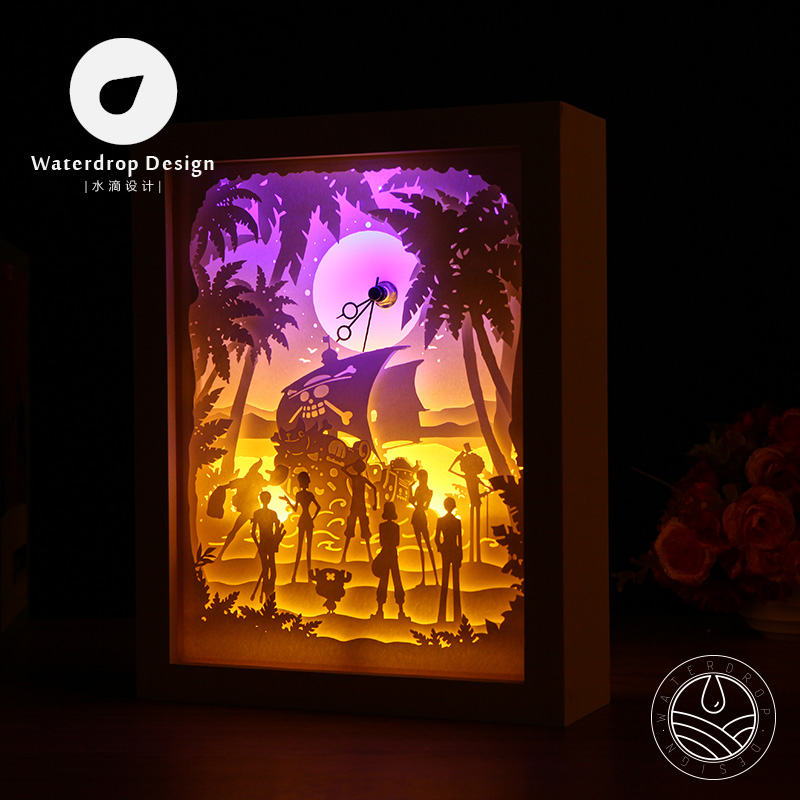 [One Piece] DIY paper cut lighting shadow Wood Frame table lamp Clock(Free Shipping)