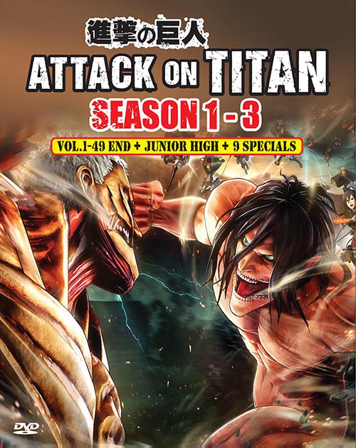 ATTACK ON TITAN SEASON 1-3 VOL.1-49END + JUNIOR HIGH + 9 SPECIALS DVD