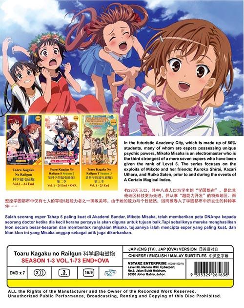 Toaru Kagaku No Railgun Season 1-3 Vol.1-73 End+Ova