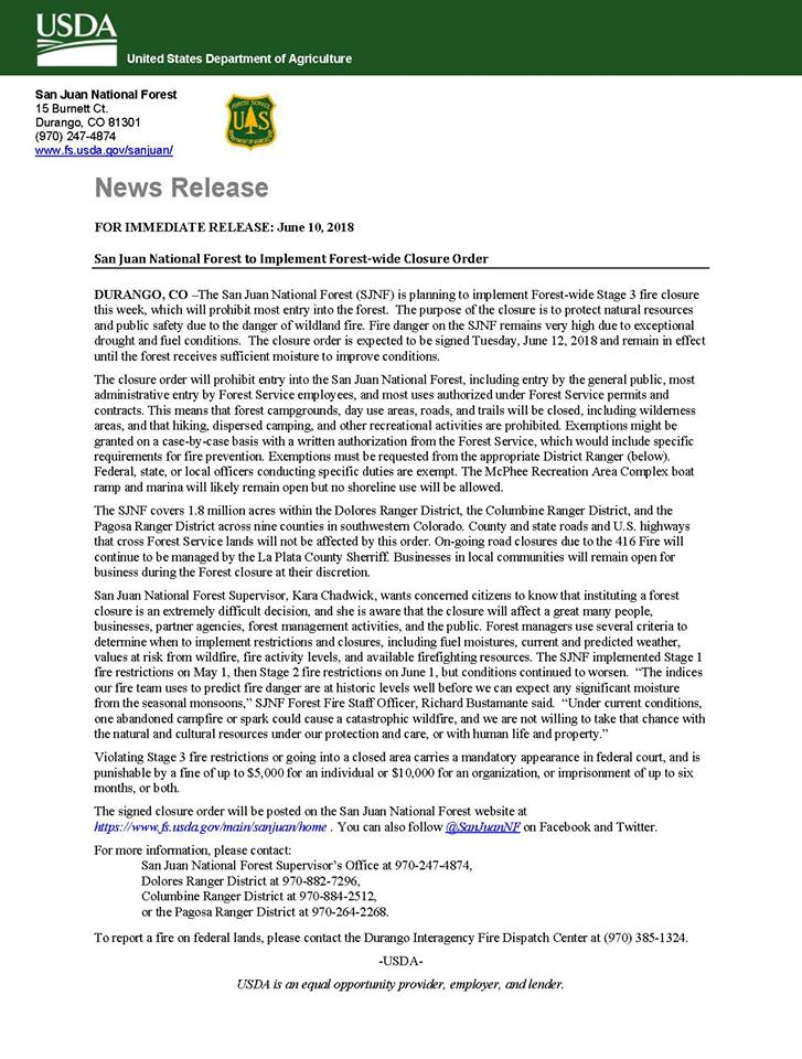 San Juan National Forest Closure