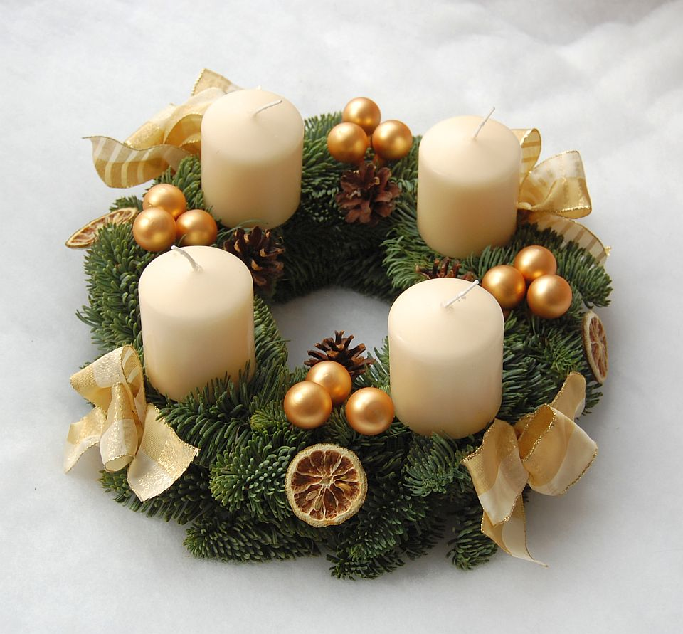 Adventskranz, Creme, Gold, Natur,