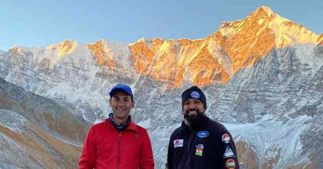 Expedition Report Adventure Pulse Samir and Sauraj with Maiktoli in the background