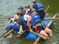 adventure activities, wales, raft building