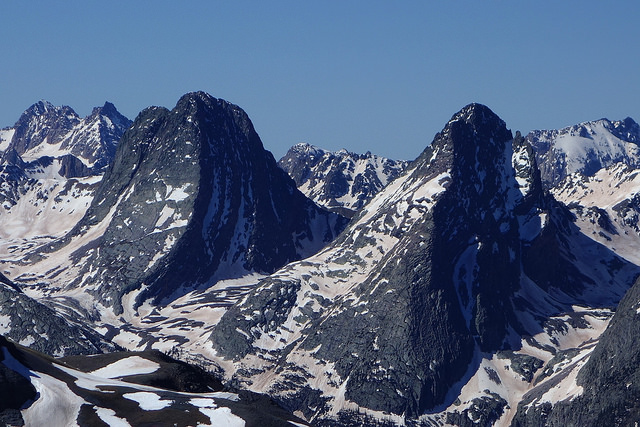 Arrow Peak (right) and Vestal Peak (left)
