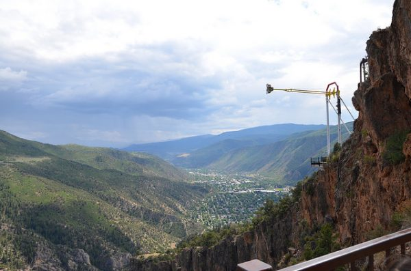 Swinging out into the canyon at the adventure park in Glenwood Springs