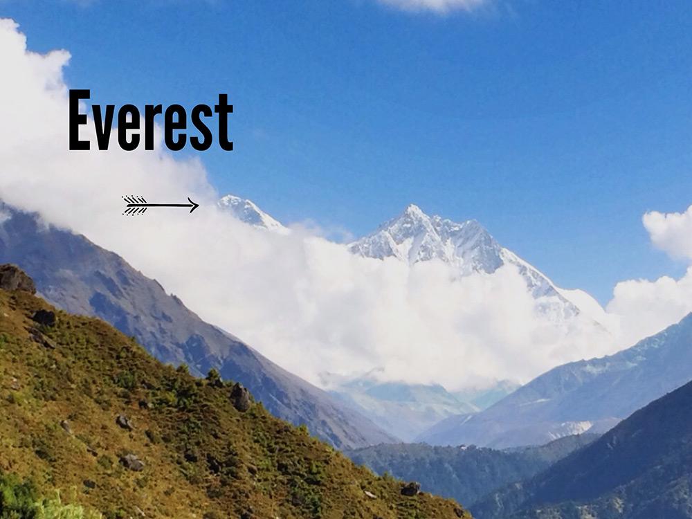 First glance of Everest on Everest Base Camp Trek