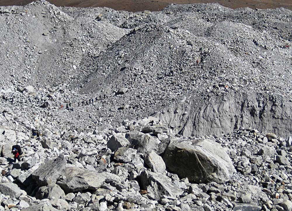 Trekking through a Boulder Field - Everest Base Camp Trek