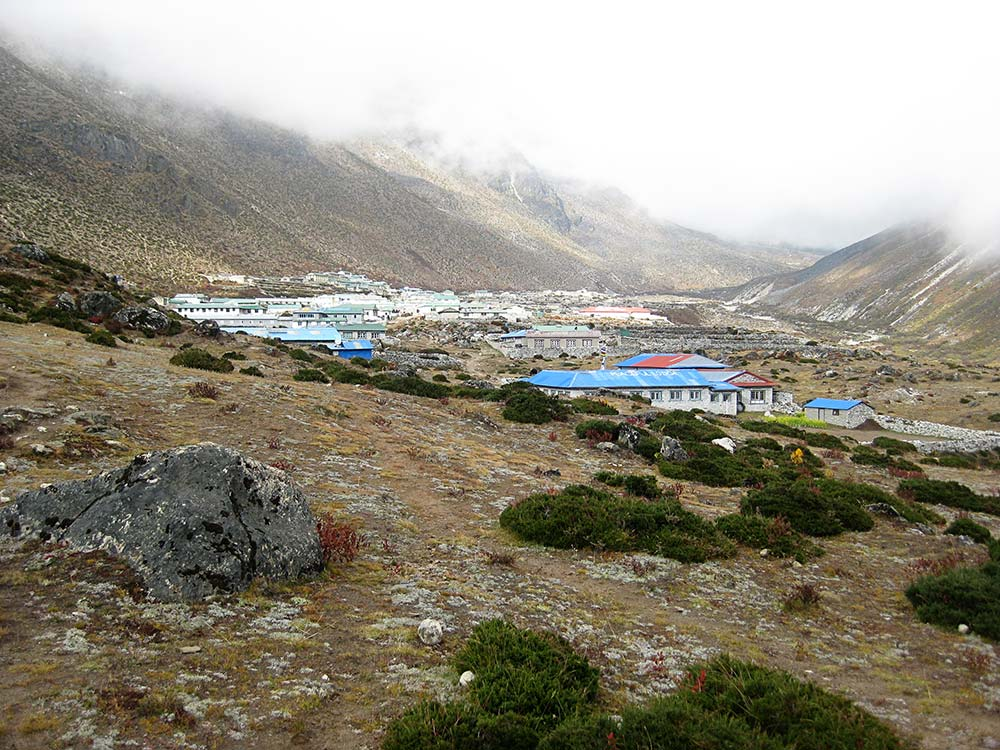 Arriving in Dingboche on a misty afternoon