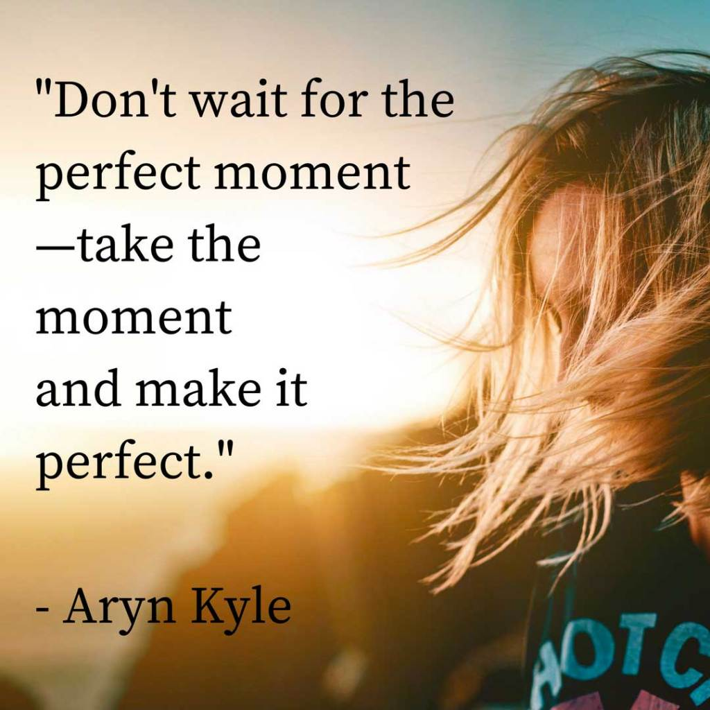 """Don't wait for the perfect moment - take the moment and make it perfect."" - Aryn Kyle"