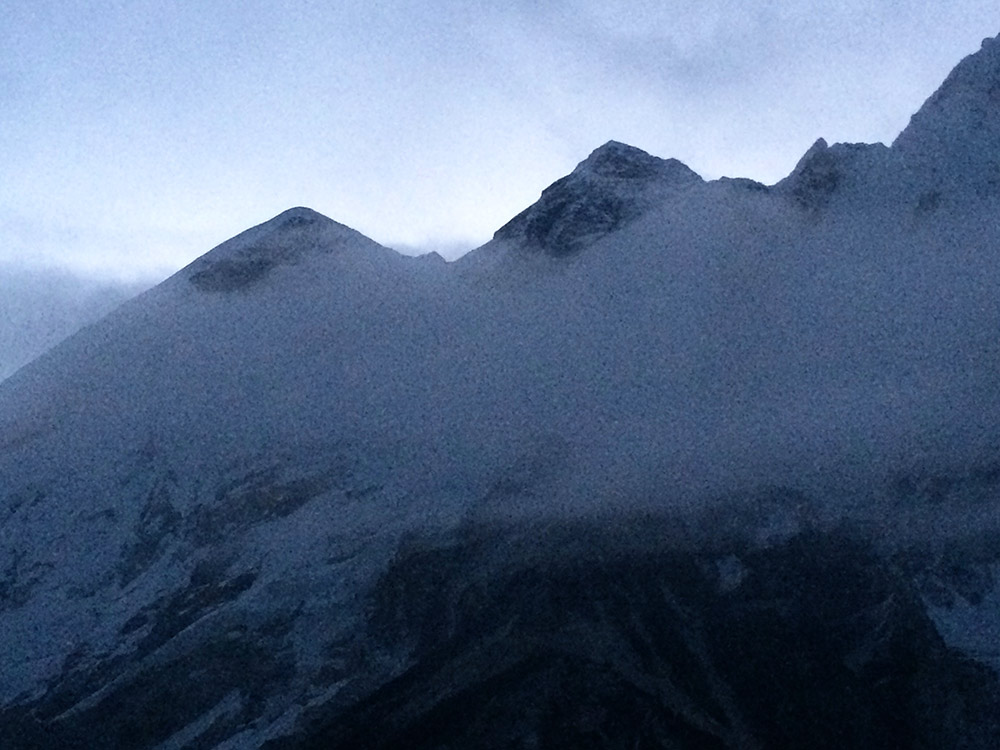 Foggy view of Everest