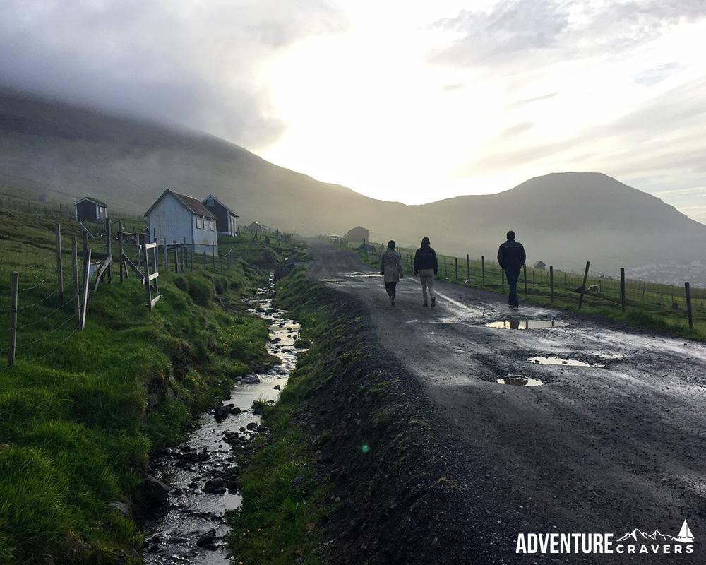 Silhouette hikers on our Klaskvik hike in the Faroe Islands