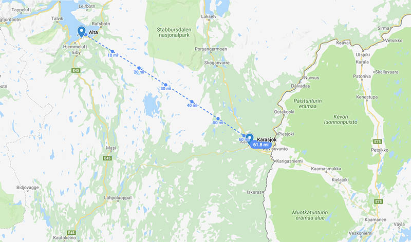 Map - Alta to Karasjok
