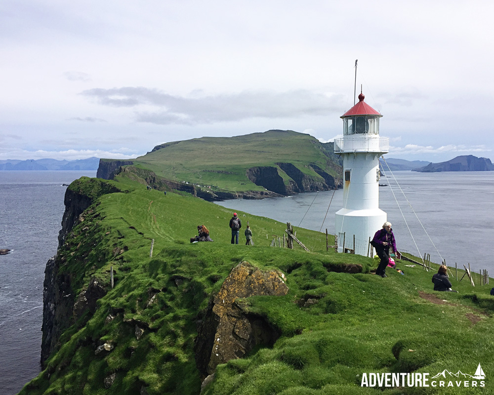The lighthouse at the end of the island of Mykines in the Faroe Islands