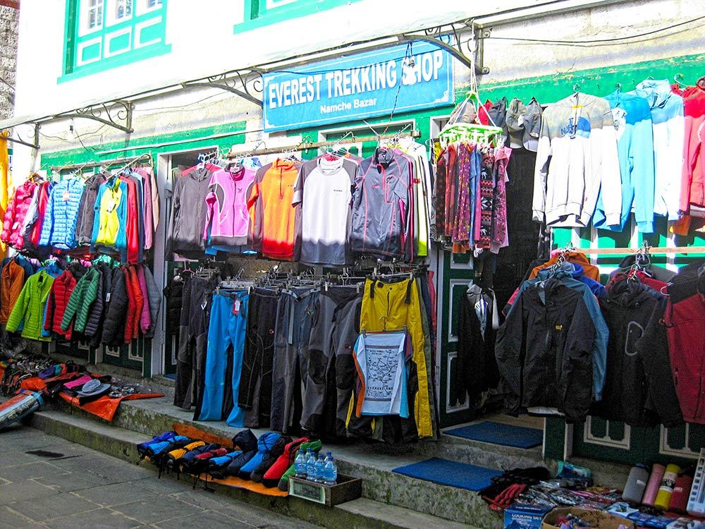 Shopping in Namche Bazaar before going higher