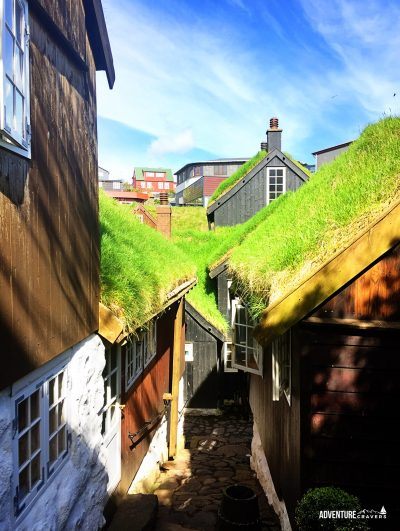 Turf roofed houses in Torshavn Faroe Islands