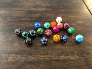 multicolour d20 dice