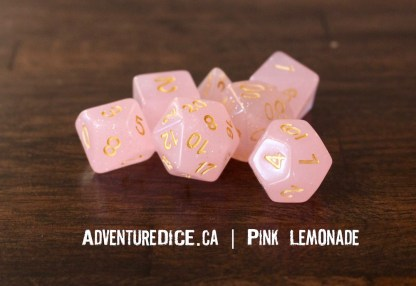 Pink Lemonade RPG dice