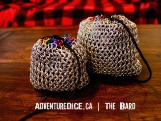 The Bard silver and rainbow chainmail dice bag