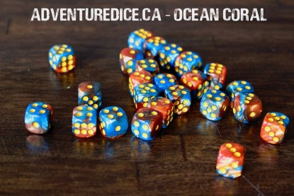 Ocean Coral 24 PK D6 Dice Set