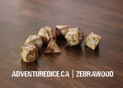 Zebrawood dice set
