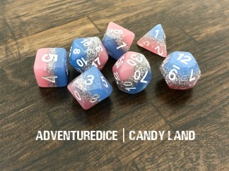 Candy Land DND dice set (layers of pink, silver sparkles, and blue, with white numbering)