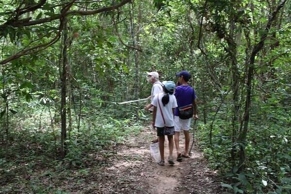 ダニさんと森を歩く写真