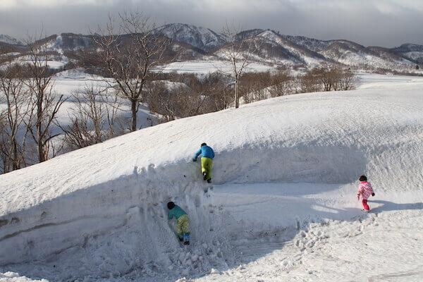 雪の壁を登る写真
