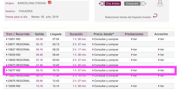 バルセロナ ーフィゲラス時刻表画像