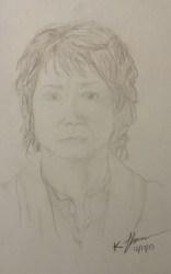 Bilbo Baggins Portrait, Pencil on Paper, 17 December 2015